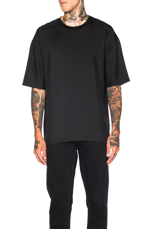 Lanvin Fluid Wool Drop Shoulder Tee in Black