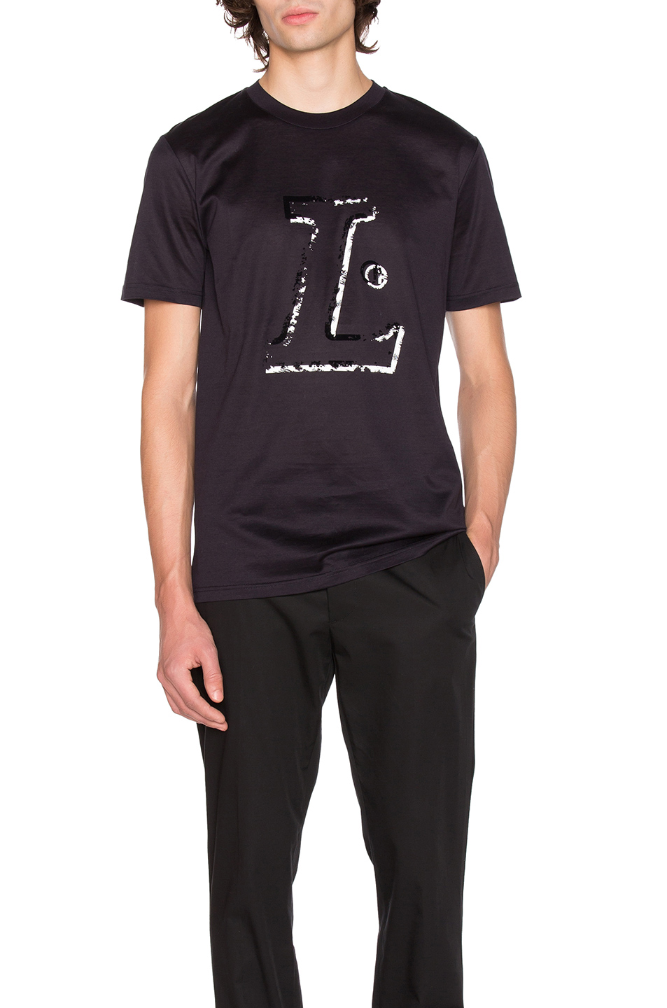 Lanvin L Placed Print Tee in Black