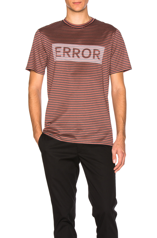 Lanvin Error Print Microstripes Tee in Red,Stripes