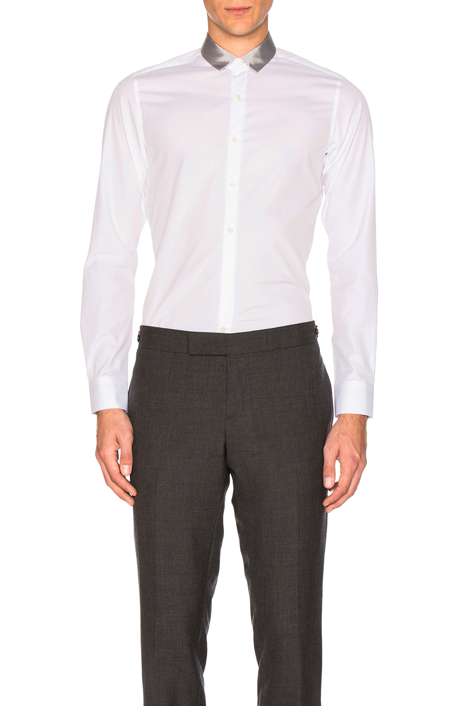 Lanvin Signature Ribbon Collar Shirt in White