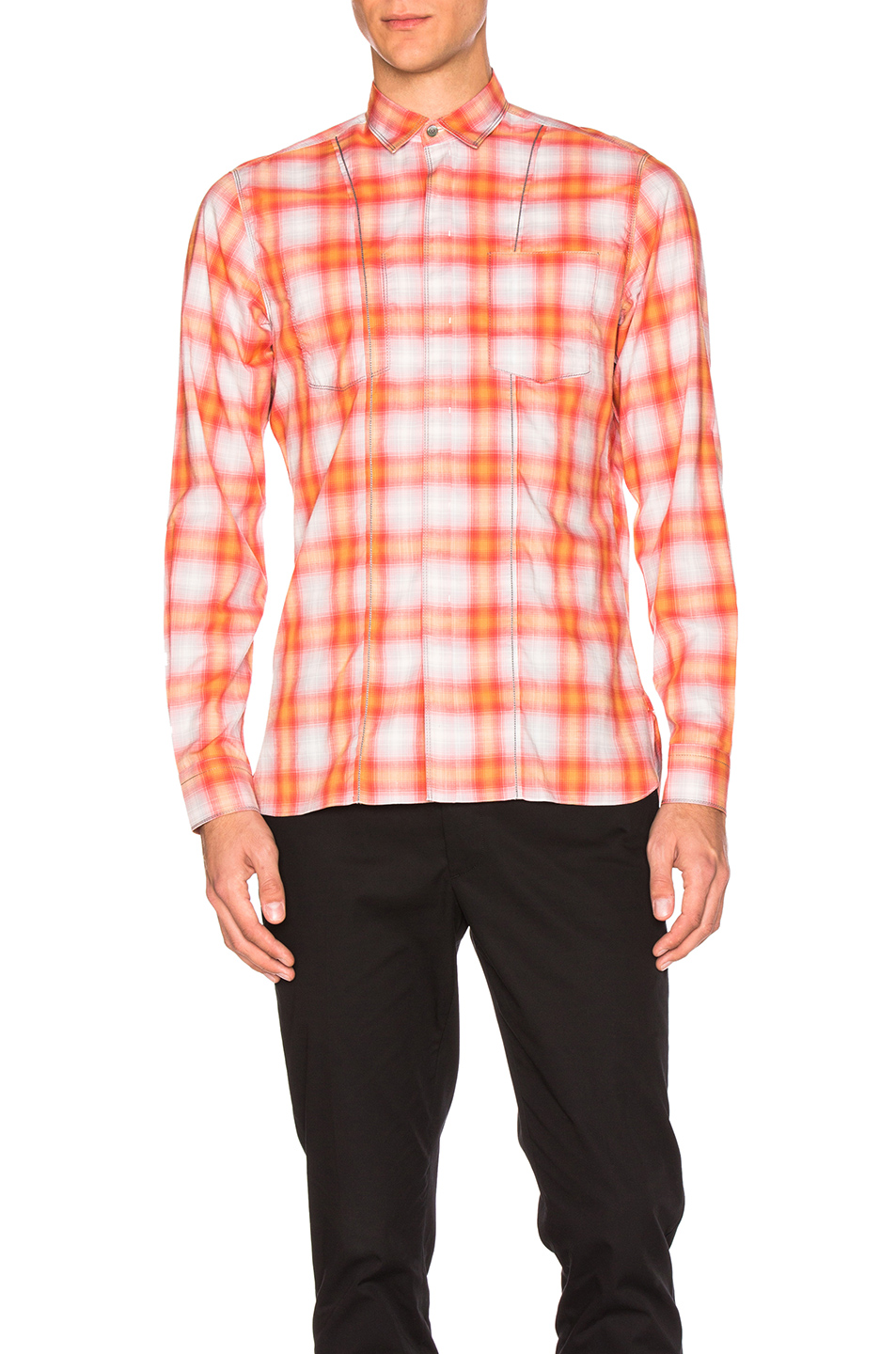 Lanvin Contrast Pocket Shirt in Orange,Checkered & Plaid