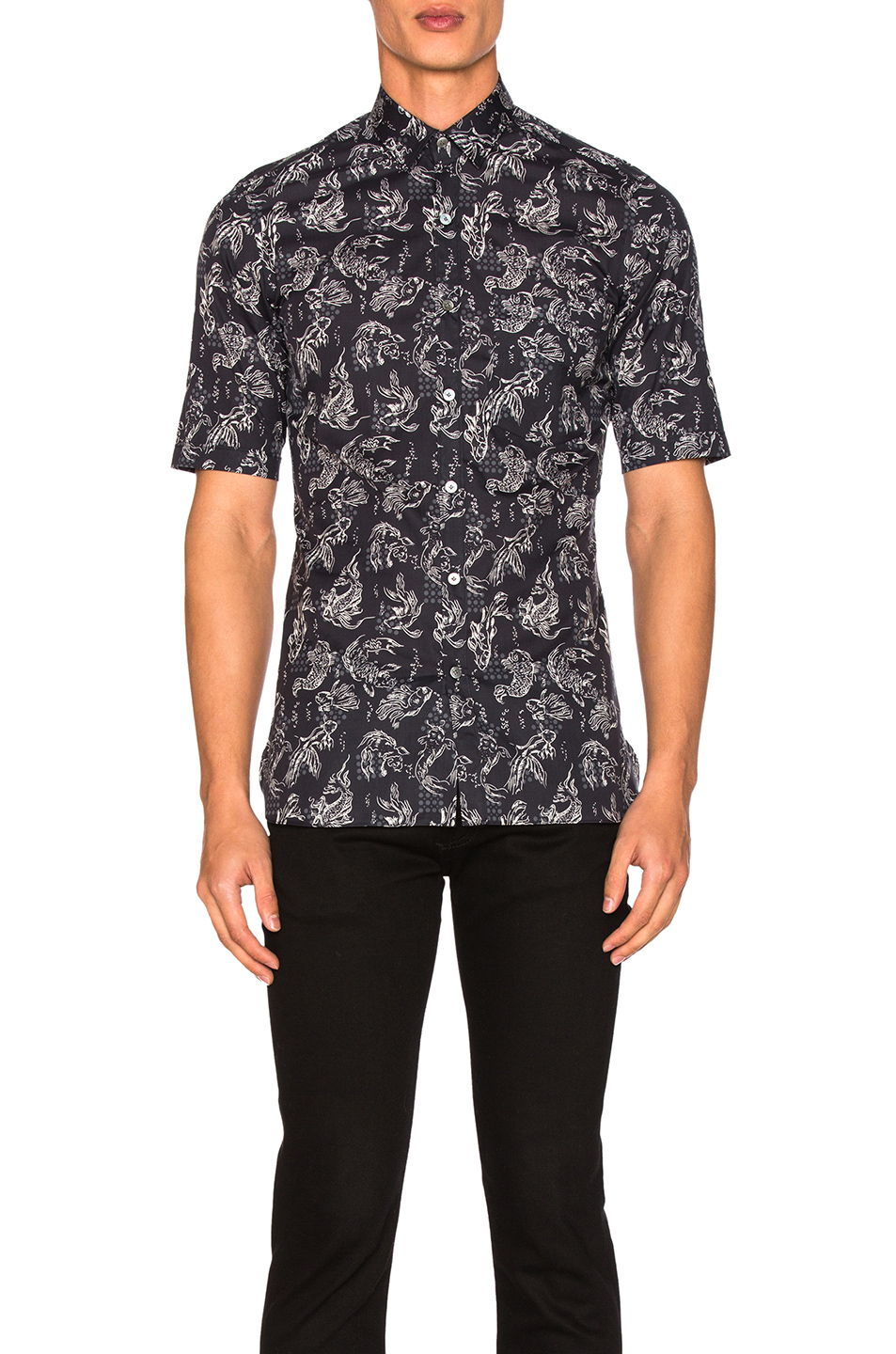 Lanvin Slim Fit Short Sleeve Shirt in Blue,Animal Print