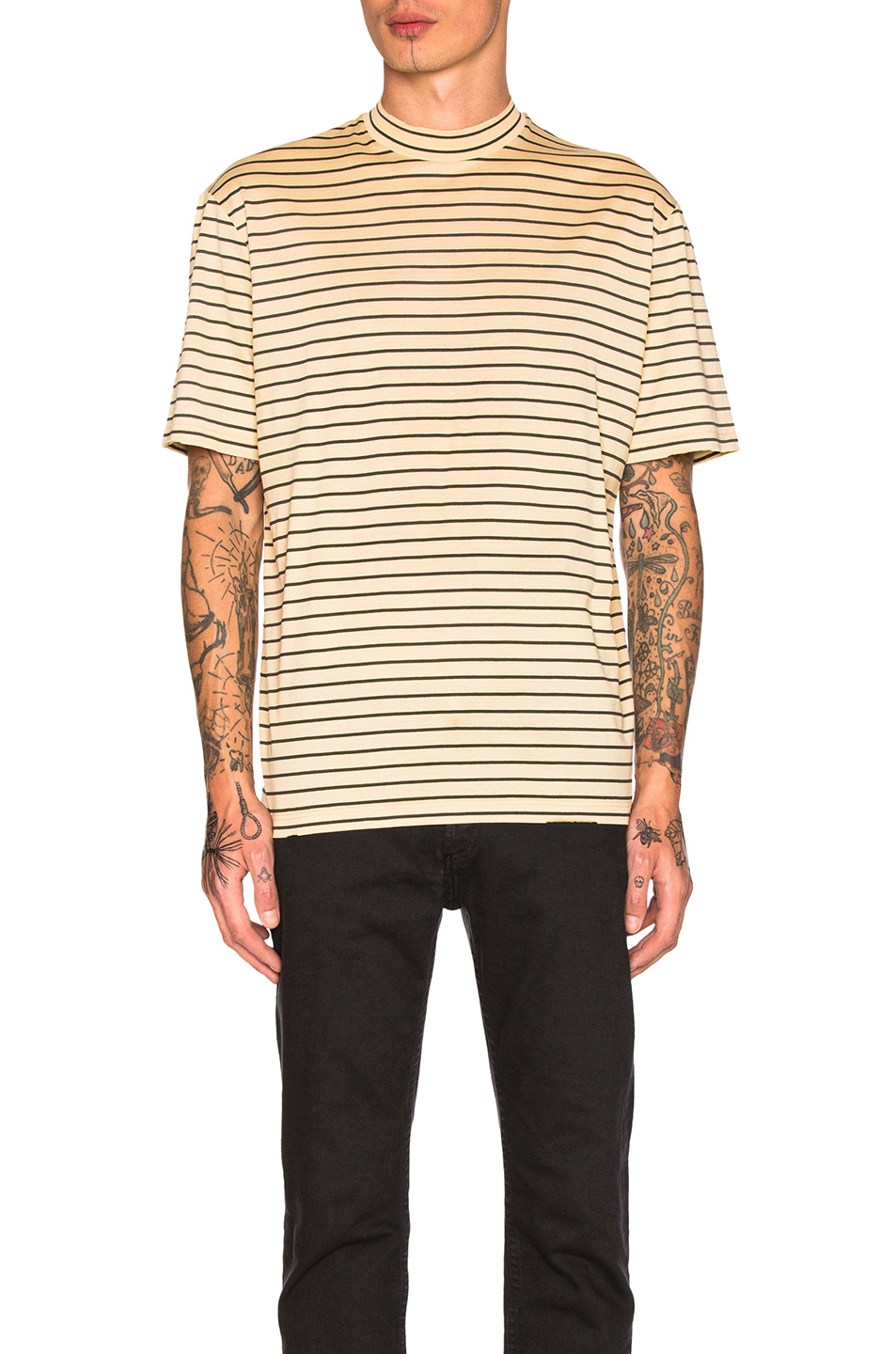 Lanvin Striped Tee in Neutrals,Stripes