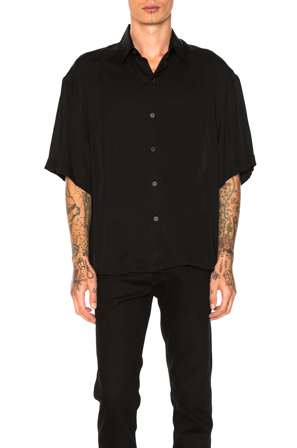 Photo of Lanvin Oversize Short Sleeve Shirt in Black - shop Lanvin menswear