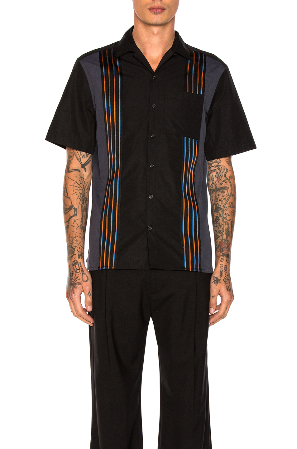 Lanvin Striped Bowling Shirt in Stripes,Black