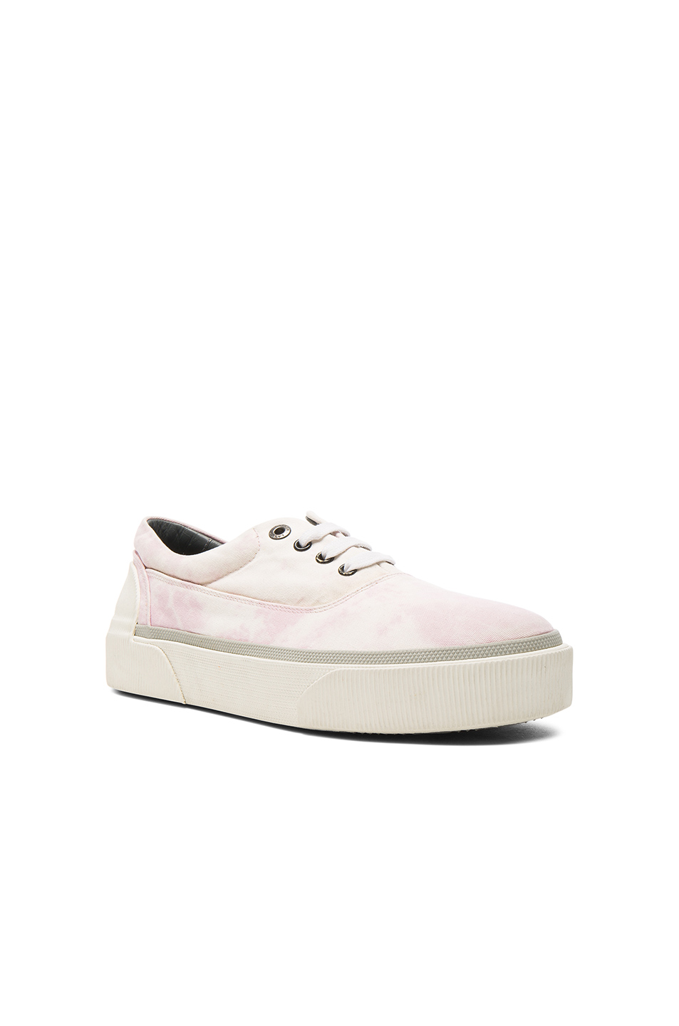 Lanvin Worn Fabric Oxford Sneakers in Ombre & Tie Dye,Pink