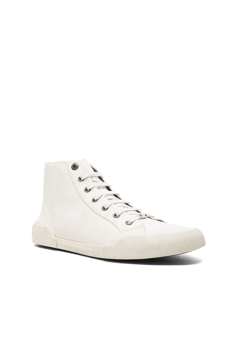 Photo of Lanvin Canvas Destroy Effect Mid-Top Sneakers in White - shop Lanvin menswear