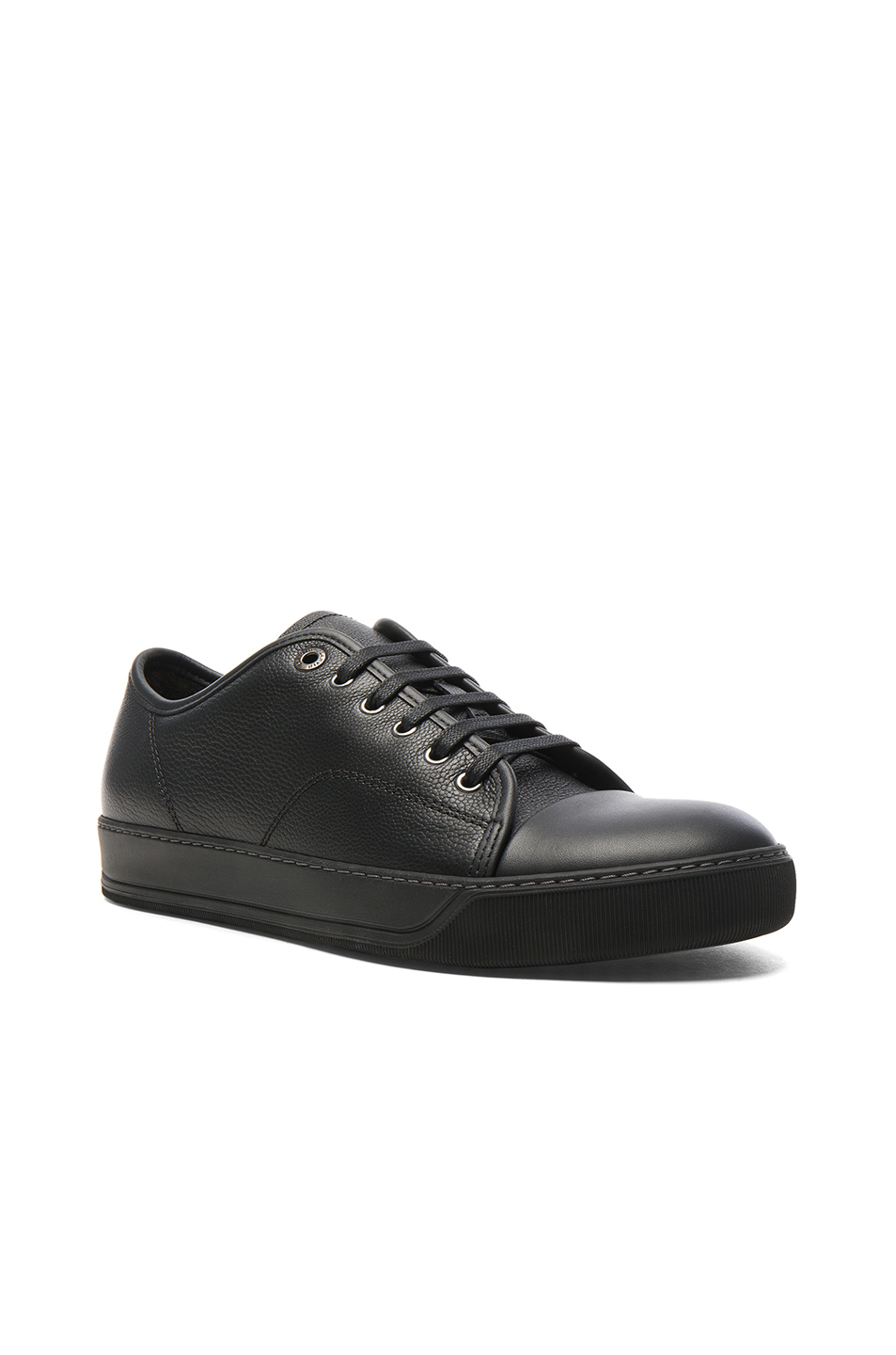 Lanvin Leather Low-Top Sneakers in Black