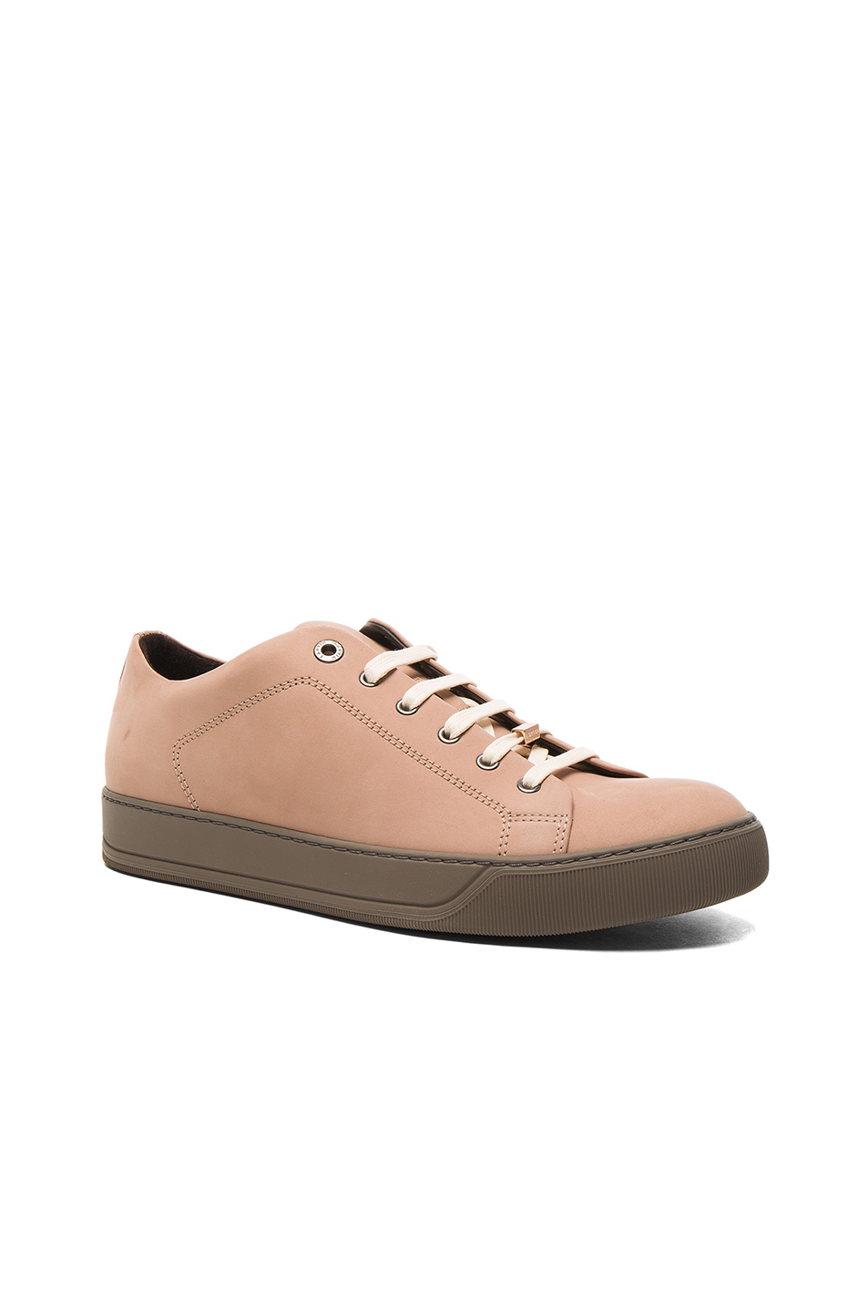 Lanvin Nubuck Calfskin Low Top Sneakers in Neutrals