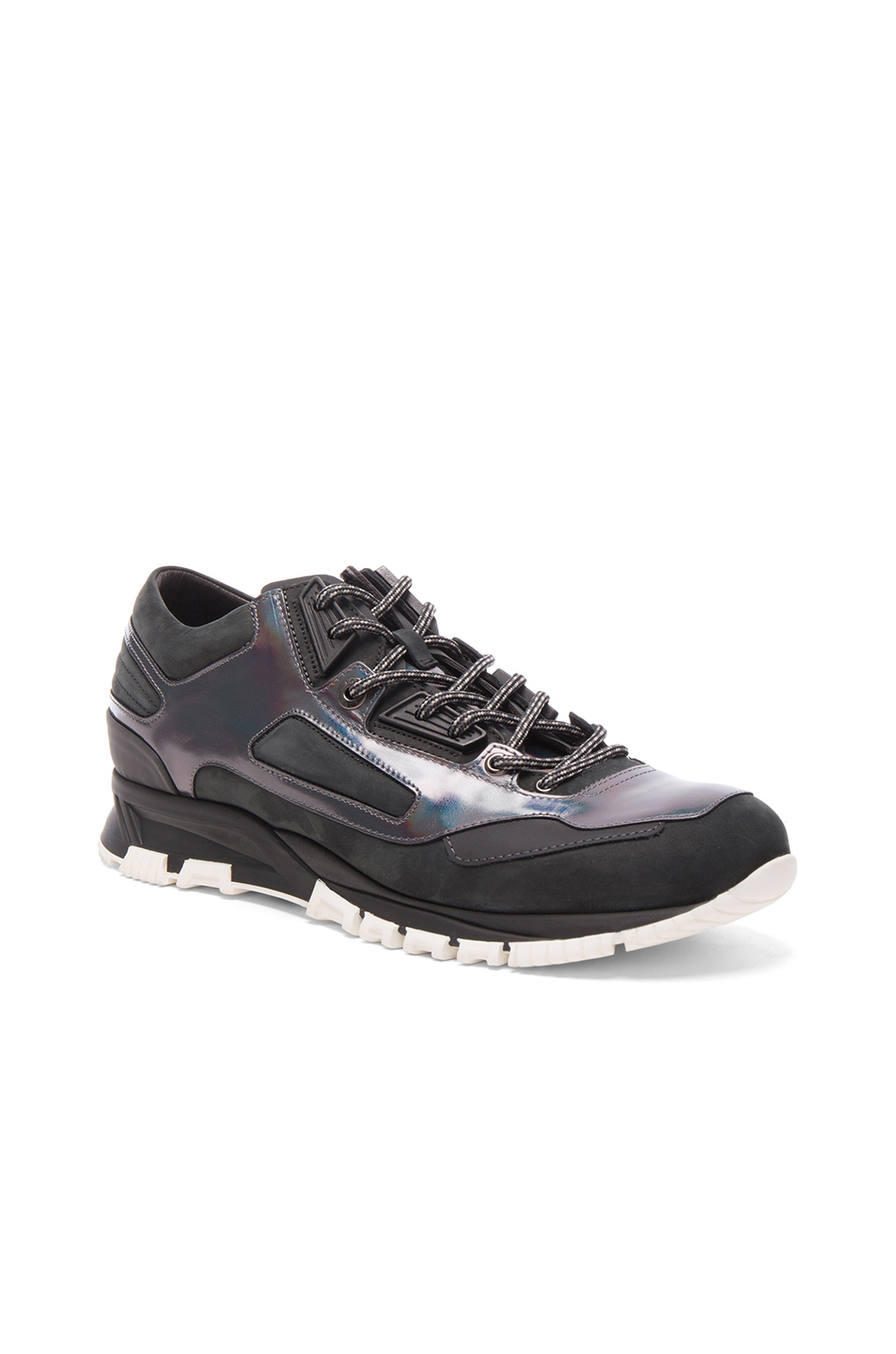 Photo of Lanvin Metallized Calfskin Patchwork Running Sneakers in Gray - shop Lanvin menswear