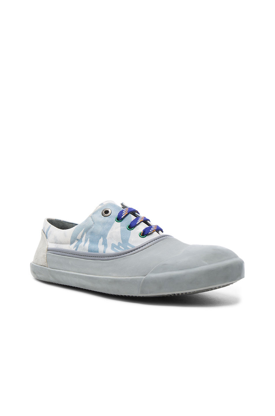 Photo of Lanvin Printed Canvas Low Top Sneakers in Blue,Gray,Abstract - shop Lanvin menswear