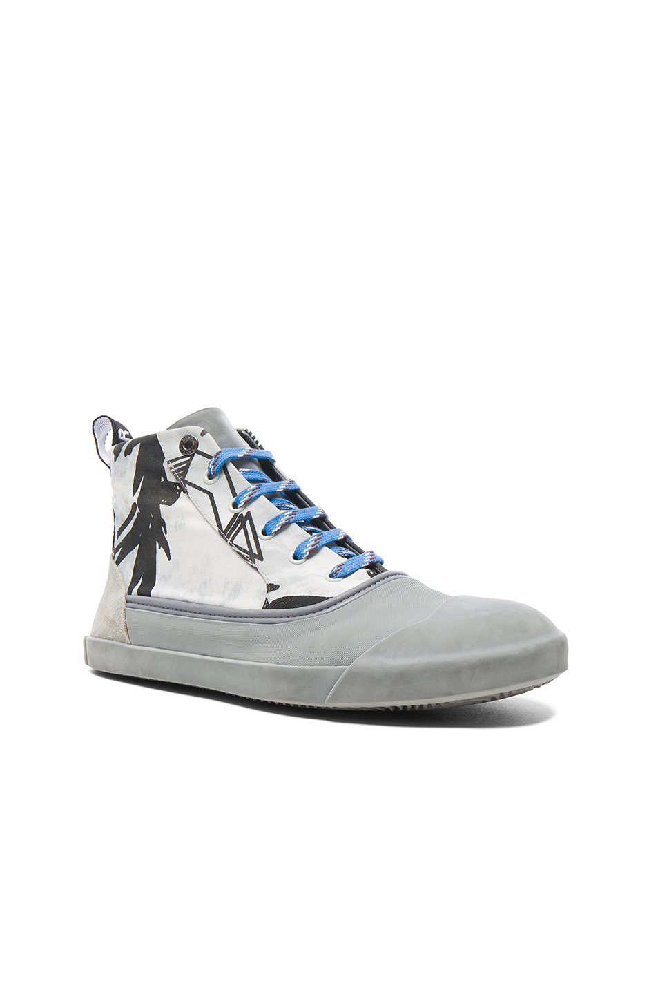 Photo of Lanvin Printed Canvas Mid Top Sneakers in Gray,Abstract - shop Lanvin menswear