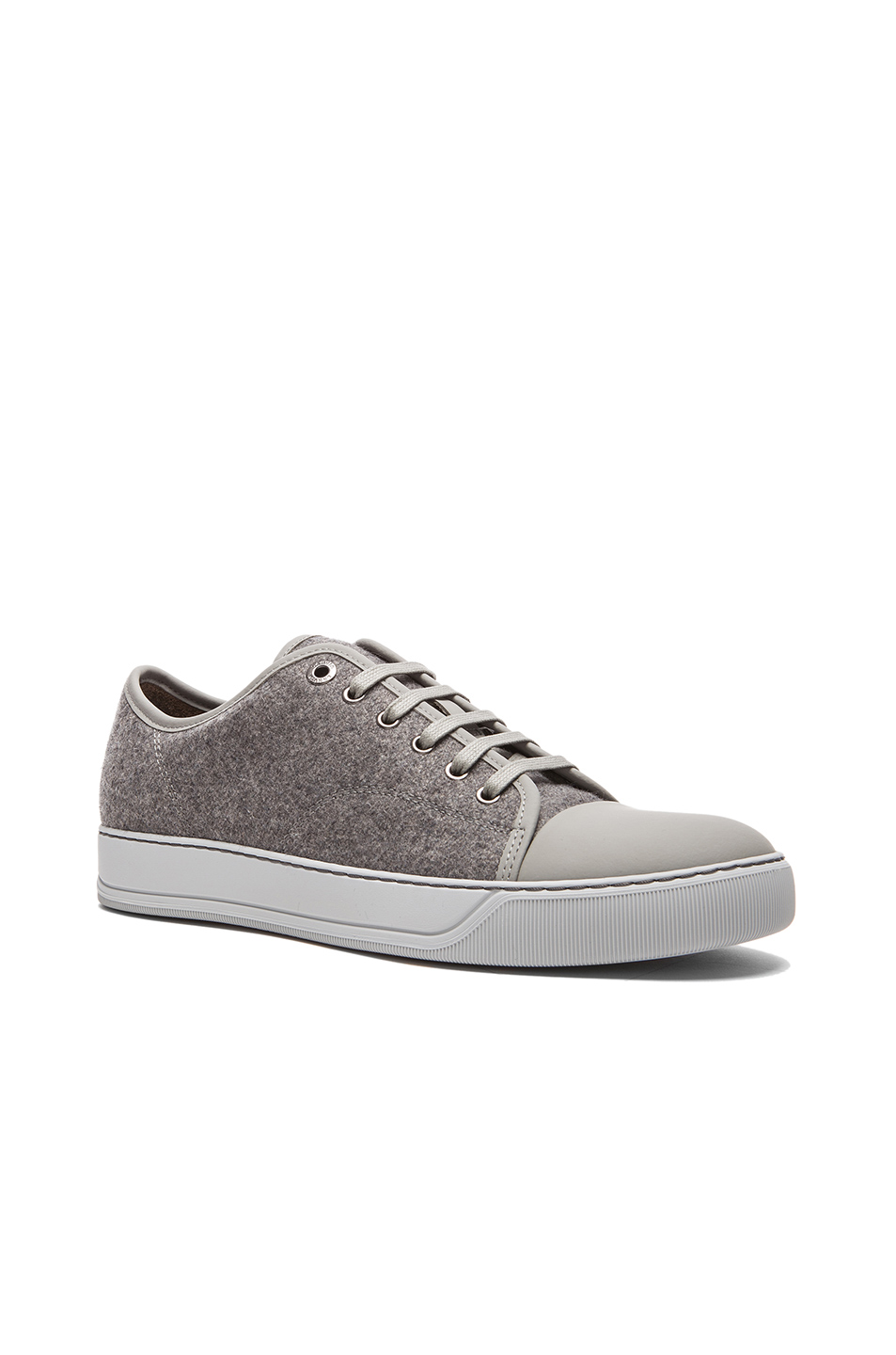 Lanvin Felt and Calfskin Low Top Sneaker in Gray