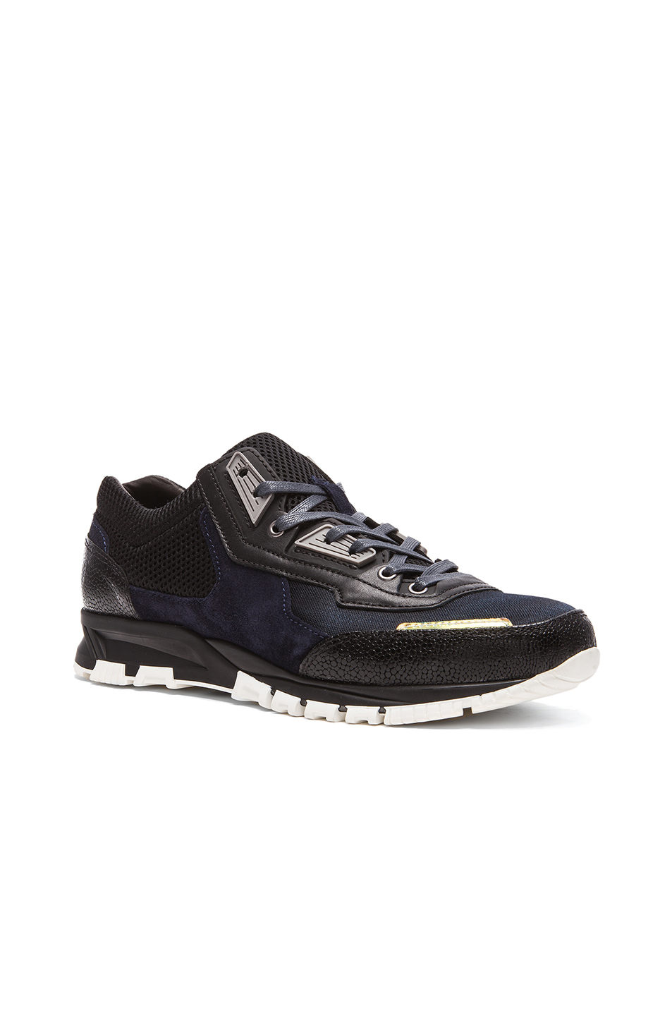 Photo of Lanvin Polyester and Sporty Mesh Running Sneaker in Blue,Metallics - shop Lanvin menswear