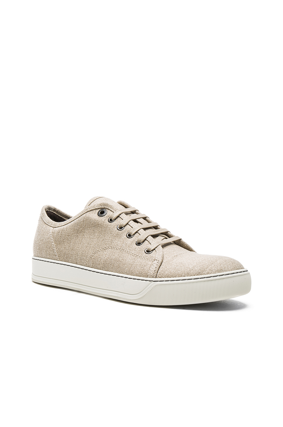 Photo of Lanvin Waxy Woven Linen Low Top Sneakers in Neutrals - shop Lanvin menswear