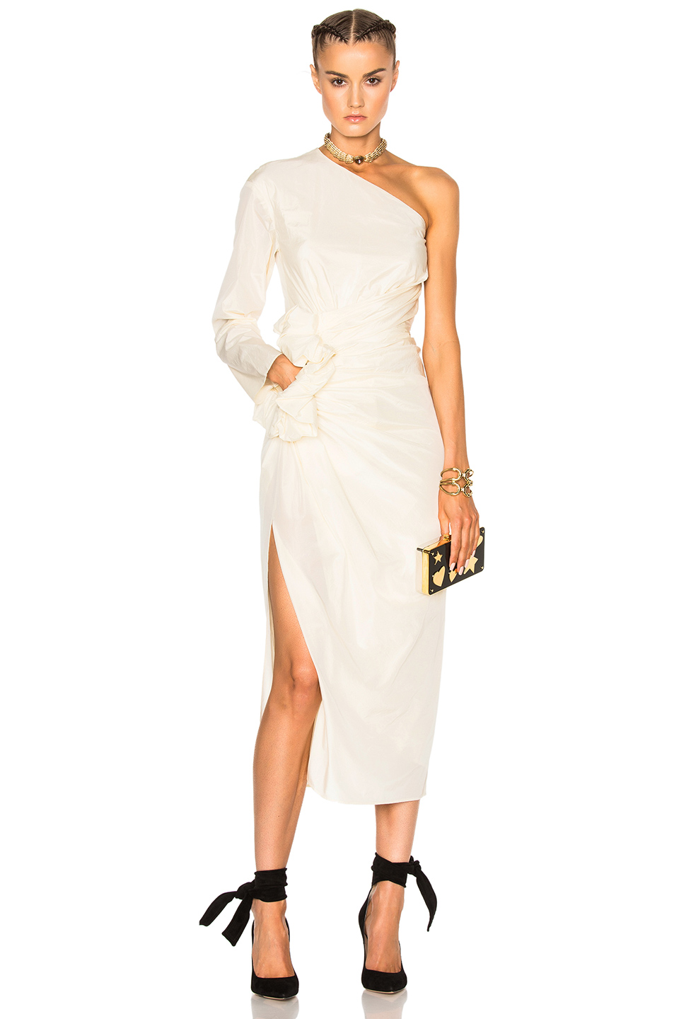 Lanvin One Shoulder Silk Dress in Neutrals,White