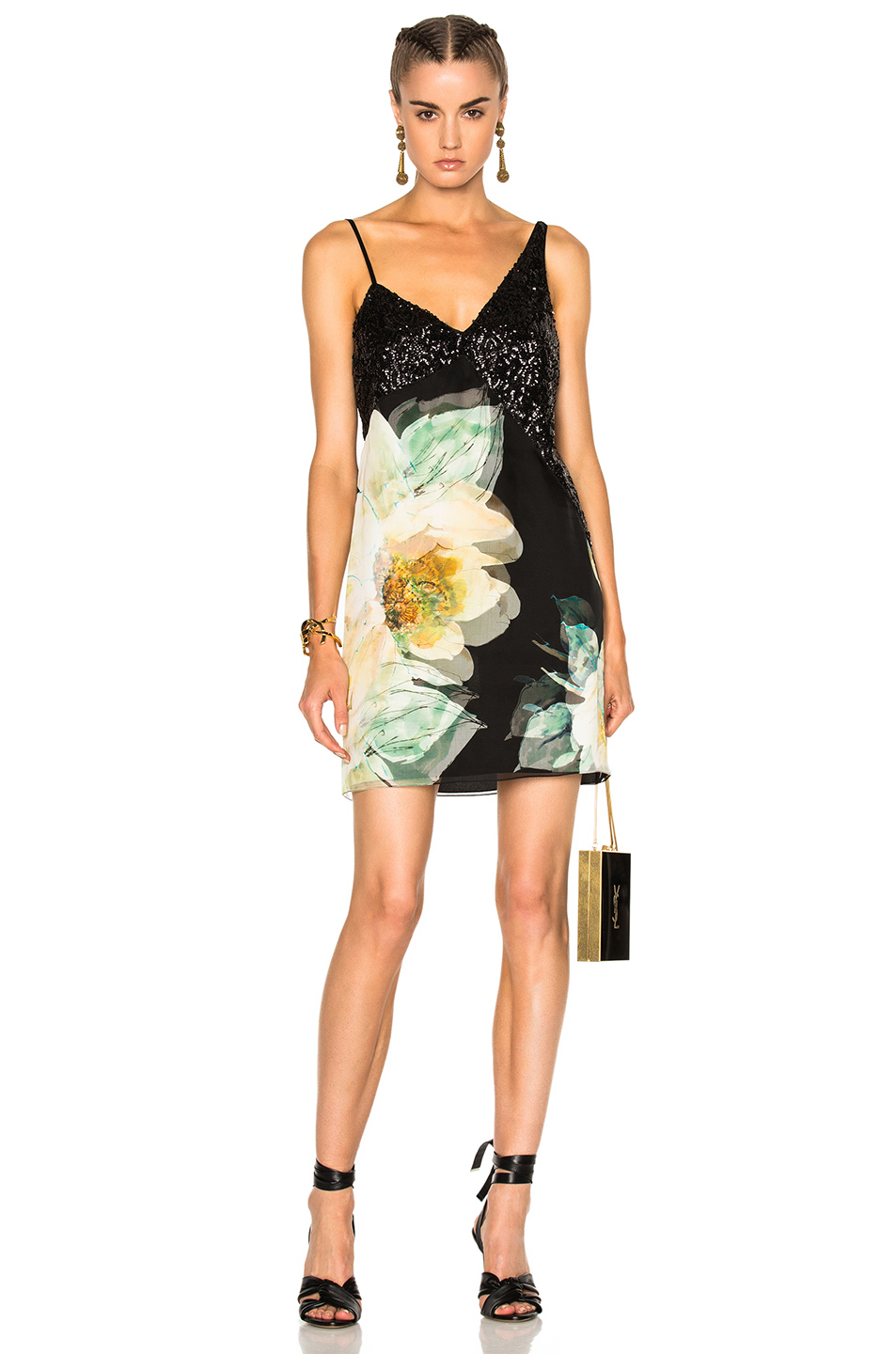Lanvin Sleeveless Mini Dress in Black,Floral,Green