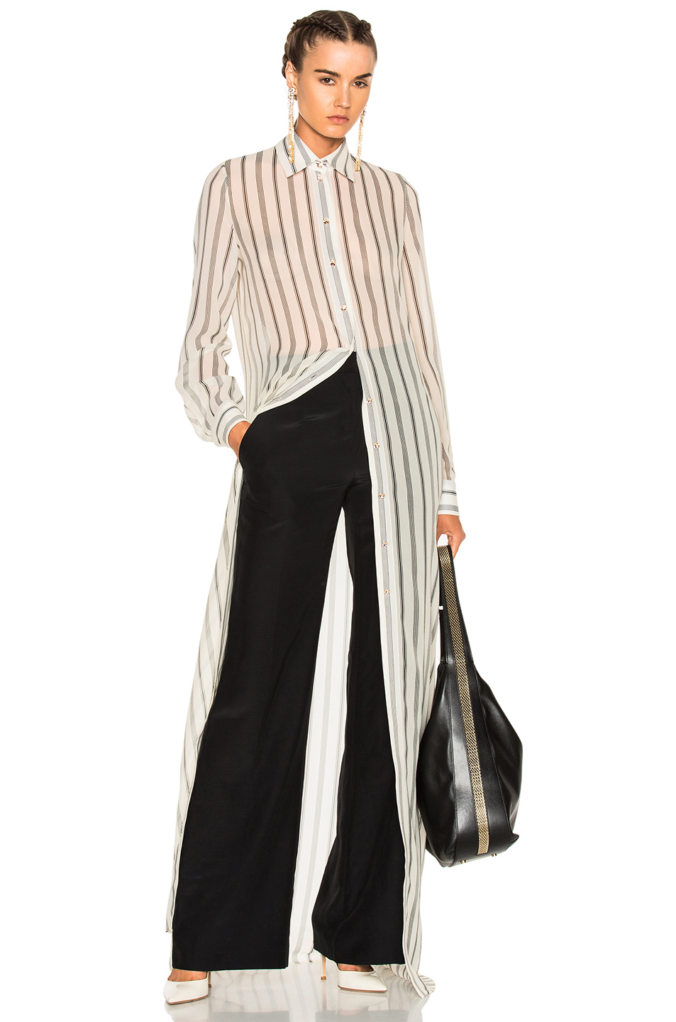 Lanvin Long Sleeve Maxi Dress in White,Stripes