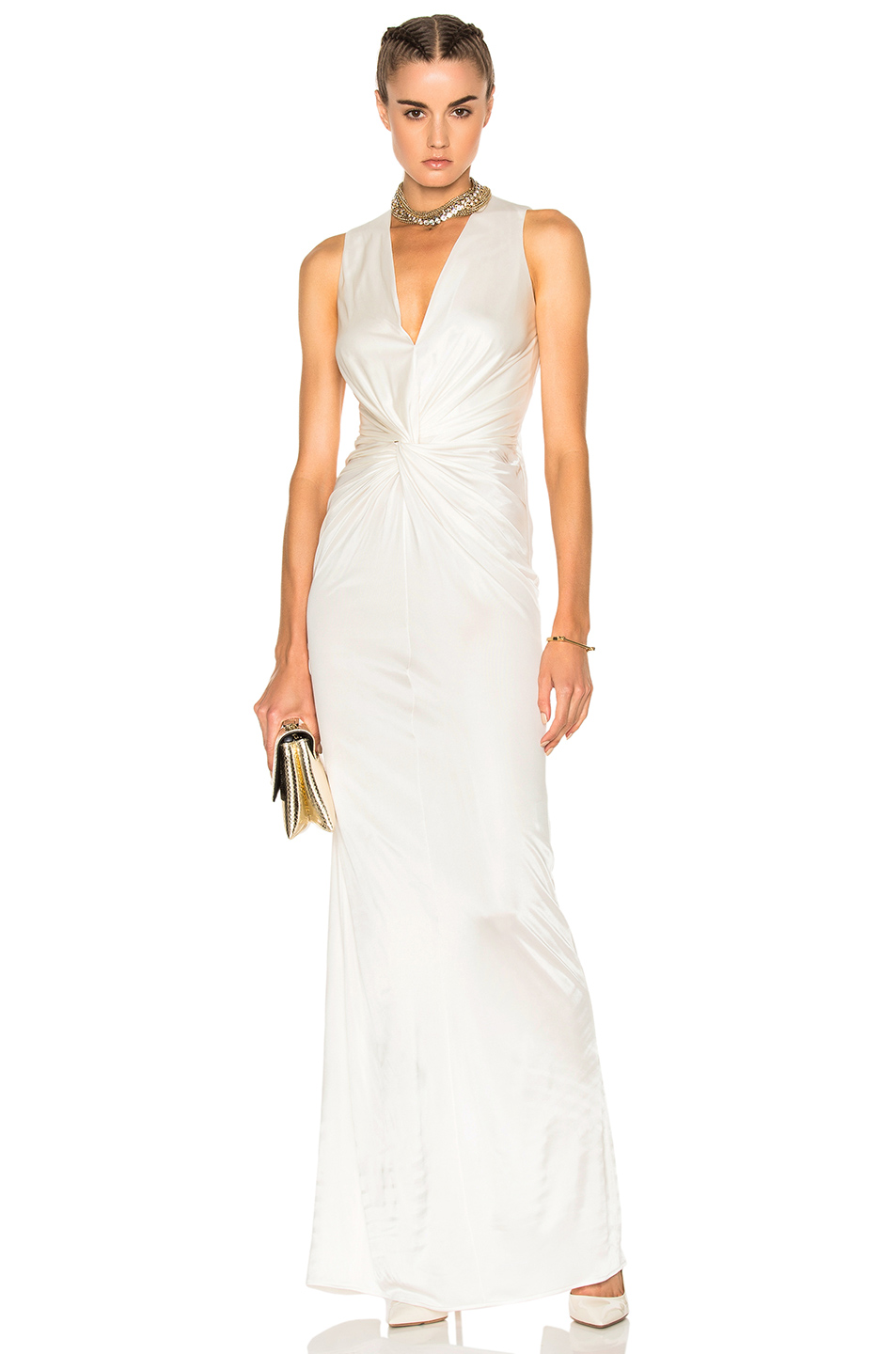Lanvin Crossover Sleeveless Gown in White