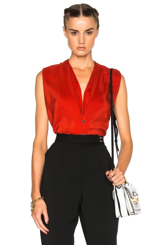 Lanvin Silk V Neck Blouse in Red,Floral