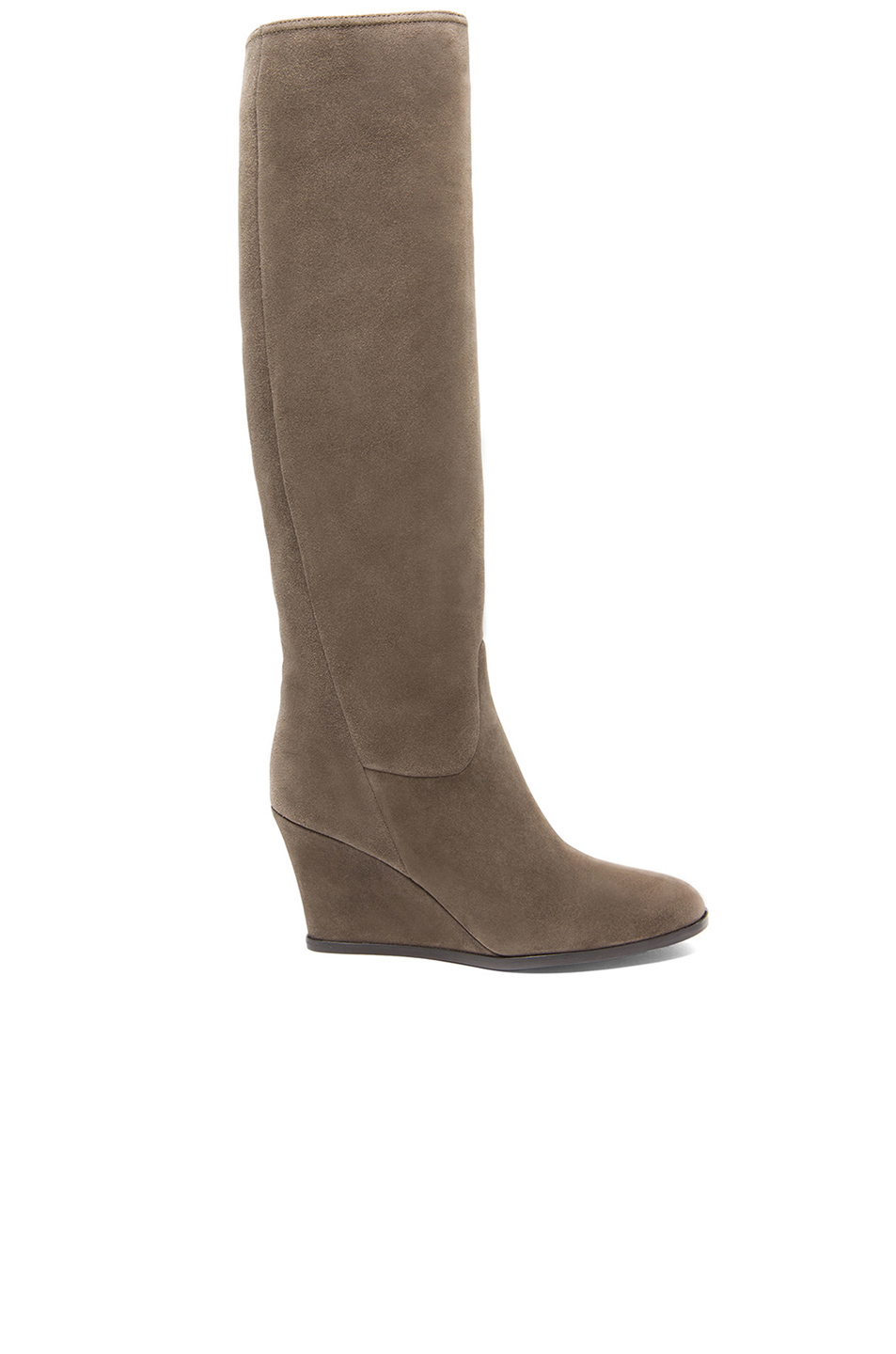 lanvin suede wedge boots in grey fwrd