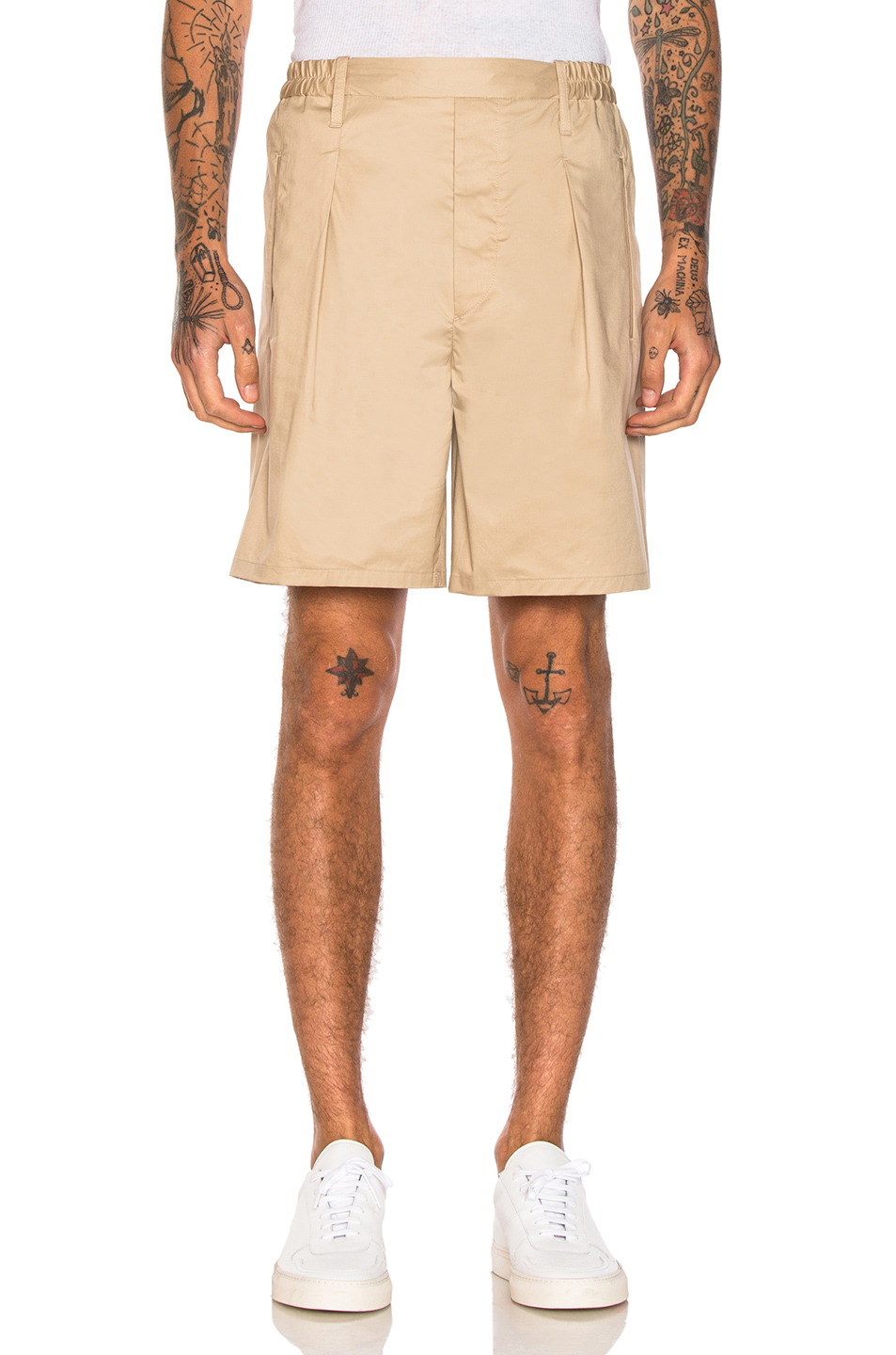 Lemaire Elasticated Waist Shorts in Neutrals