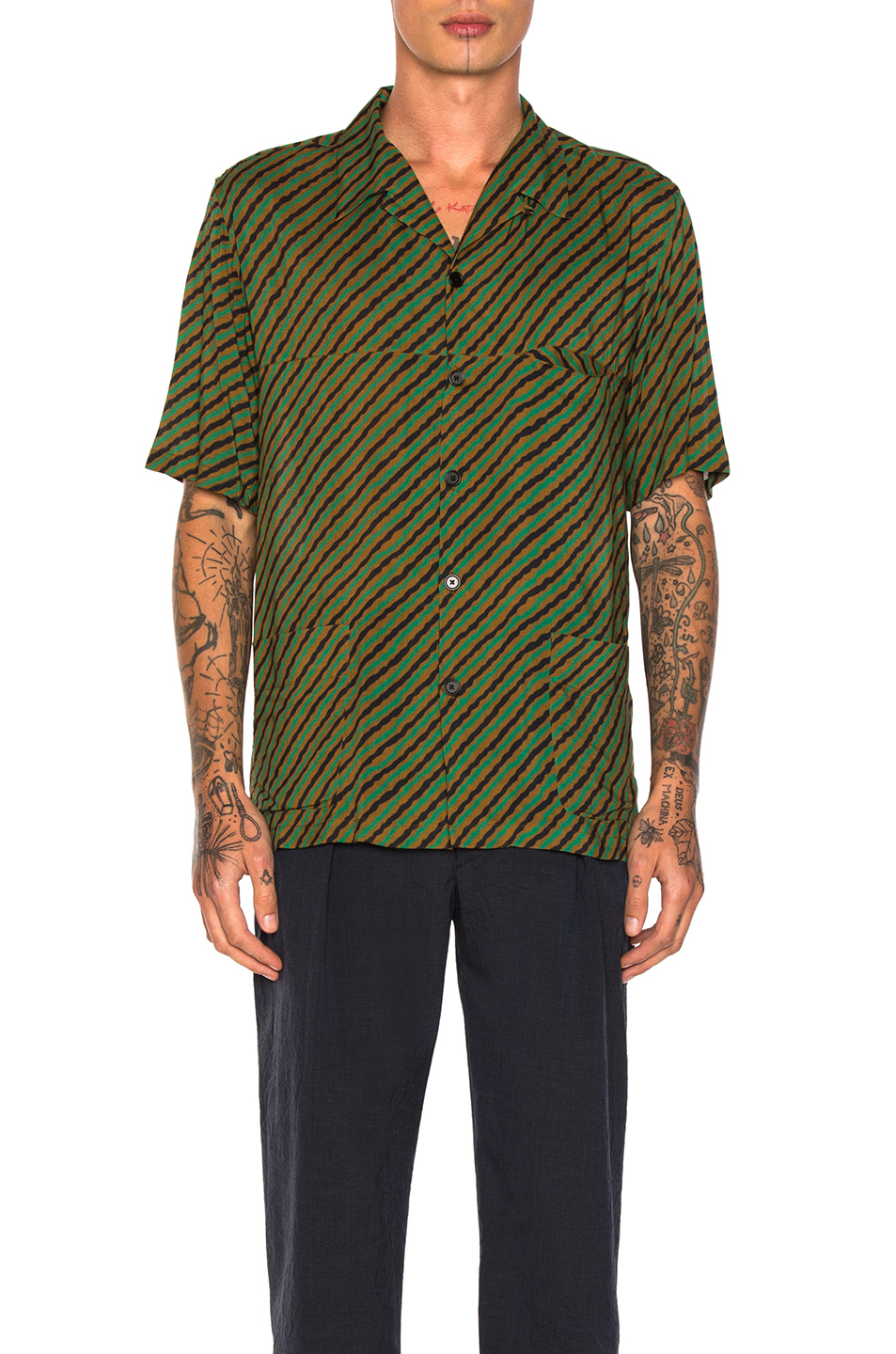 Lemaire Three Pocket Shirt in Stripes,Green