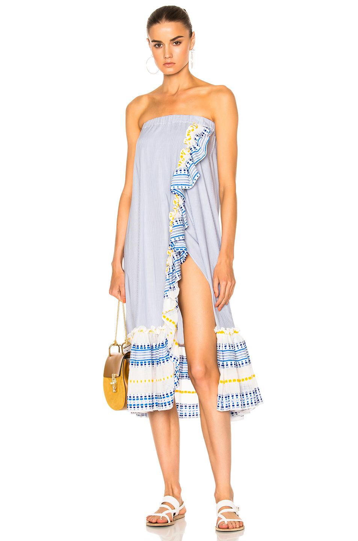 Lemlem Mwali Convertible Dress in Blue,Stripes