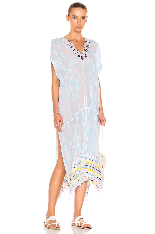 Lemlem Edna Embroidered Caftan in Blue,Stripes