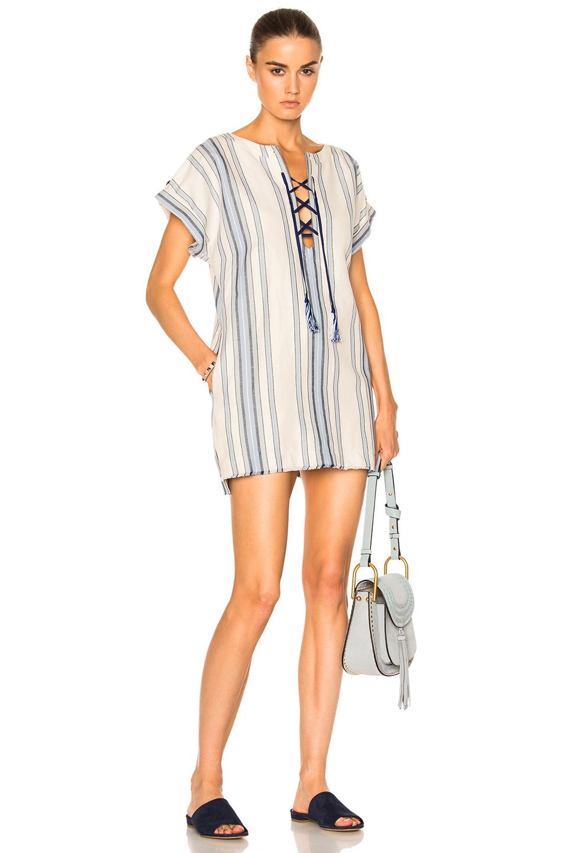 Lemlem Halima Lace Up Tunic in White,Blue,Stripes