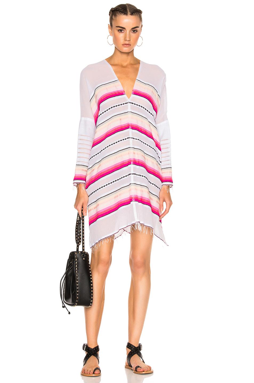 Lemlem Adia Open Back Caftan in Pink,Stripes,White