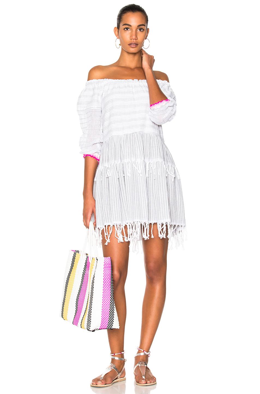 Lemlem Anan Mini Dress in Gray,Stripes,White