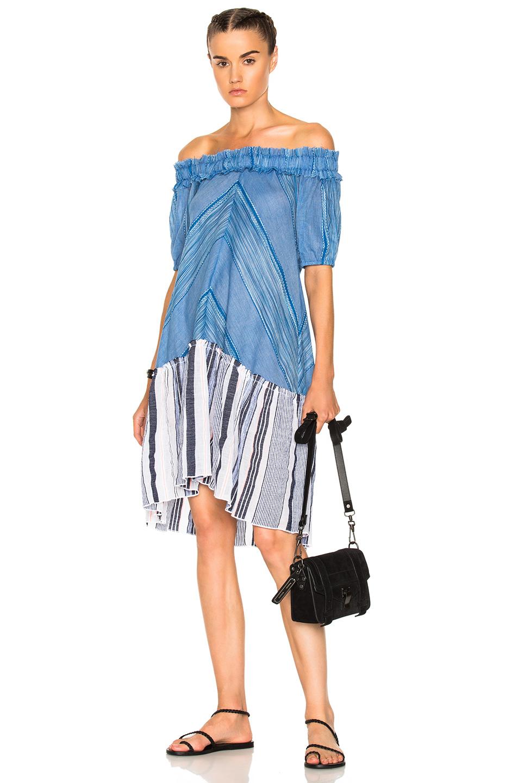 Lemlem Semay Off Shoulder Dress in Blue,Stripes