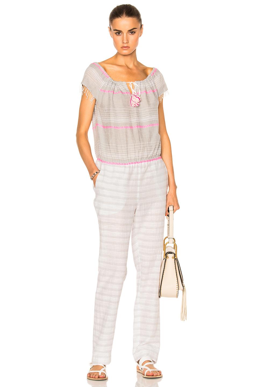 Lemlem Aden Tassel Tie Jumpsuit in Gray,Pink,White
