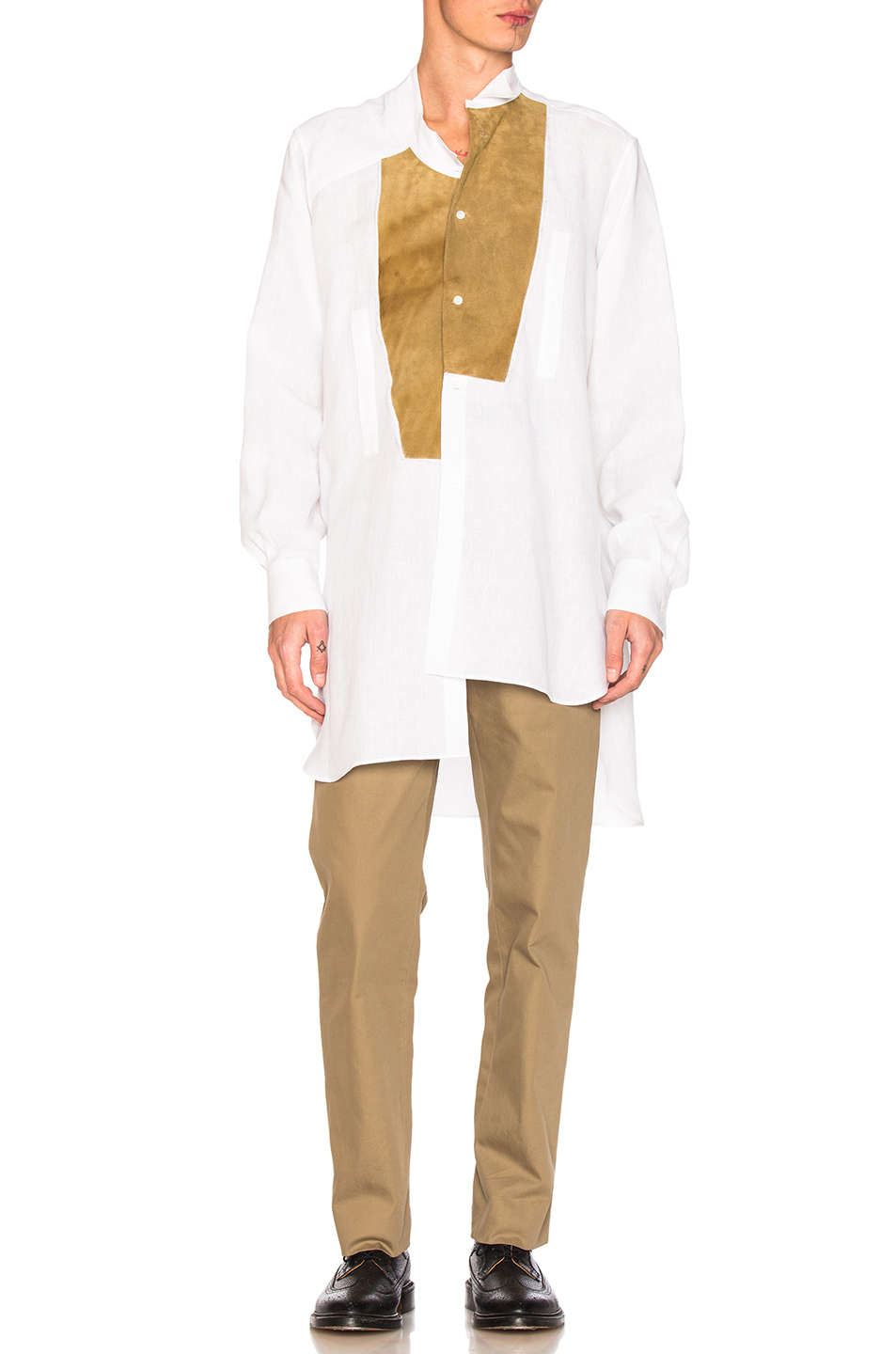 Loewe Leather Placket Shirt in White