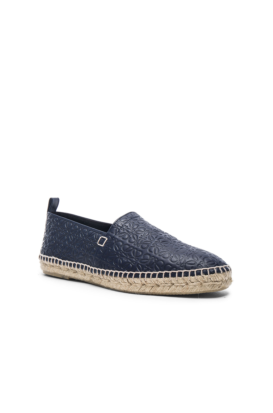 Loewe Anagram Embossed Leather Espadrilles in Blue