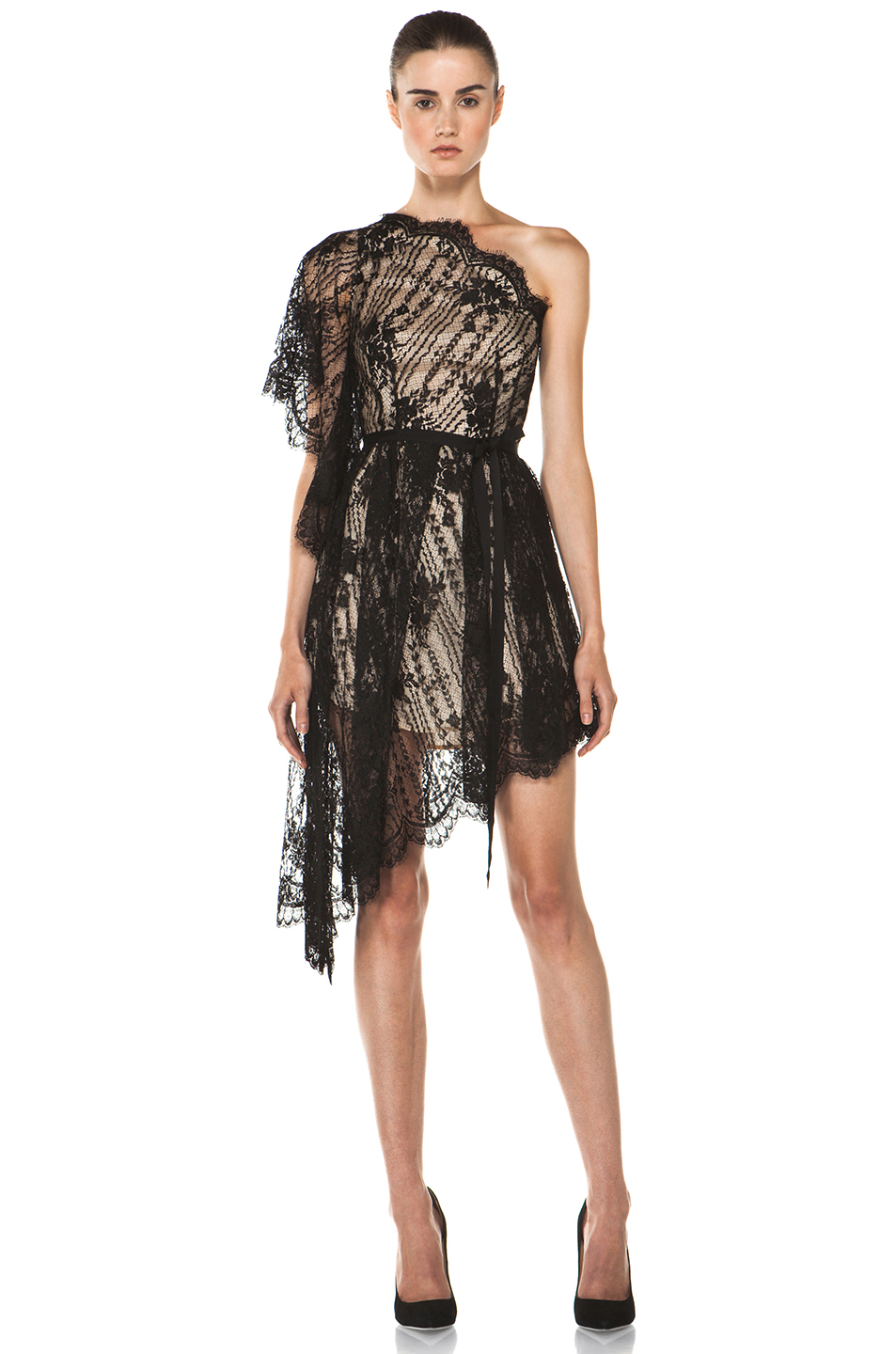 Lover Serenity Lace Knit Dress in Black   FWRD