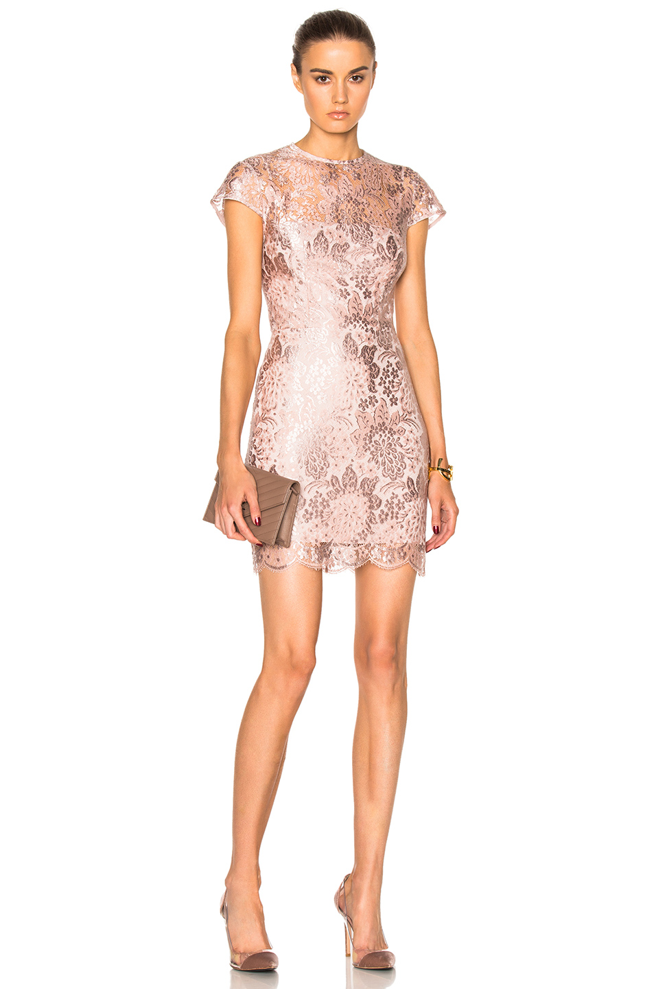 Lover Opium Fitted Mini Dress in Pink,Metallics