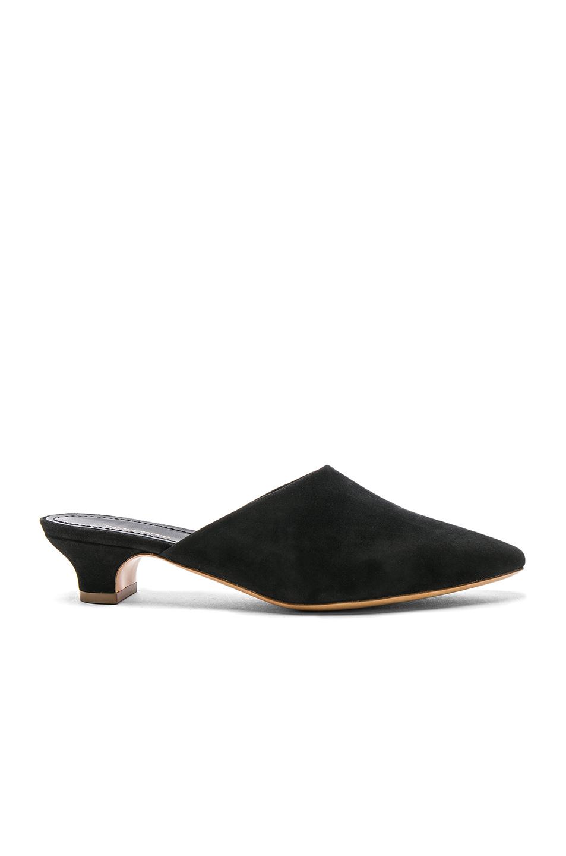 Mansur Gavriel Suede Elegant Slides in Black