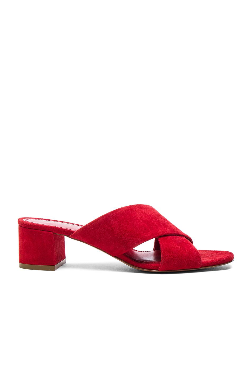 Mansur Gavriel Suede X Strap Heels in Red