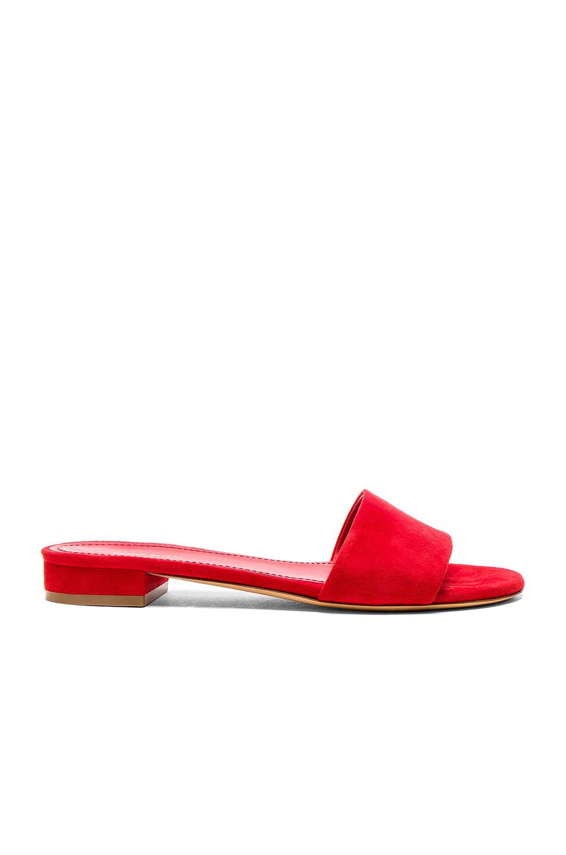 Photo of Mansur Gavriel Single Strap Suede Sandals in Red shop Mansur Gavriel shoes