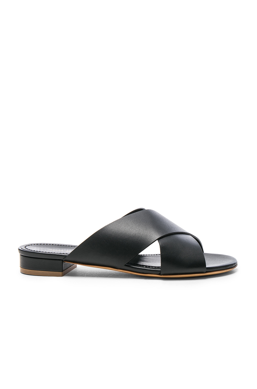 Mansur Gavriel Leather X Strap Sandals in Black