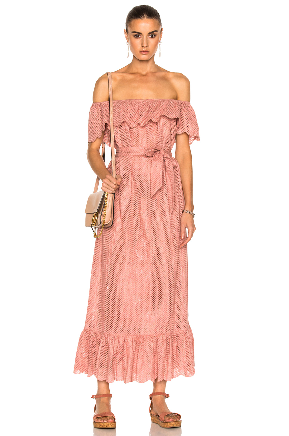 Marysia Swim Off Shoulder Dress in Pink