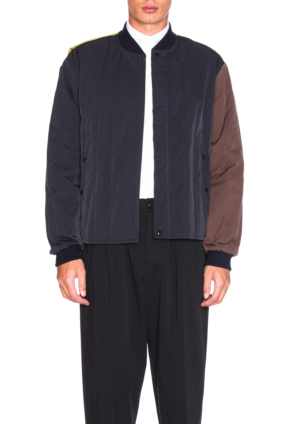 Marni Quilted Bomber Jacket in Blue,Yellow