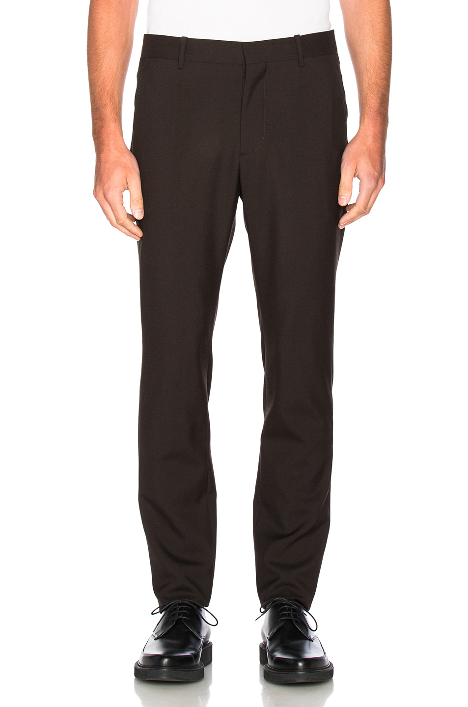 Marni Tropical Wool Slim Trousers in Brown
