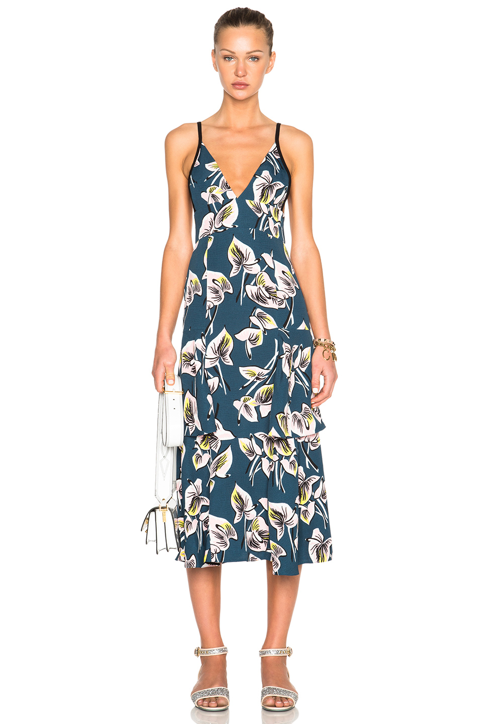 Marni Printed Tiered Tank Dress in Green,Blue,Floral