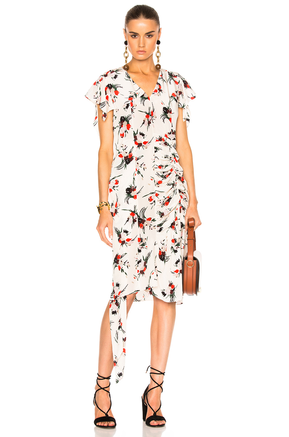 Marni Printed Short Sleeve Dress in Floral,White