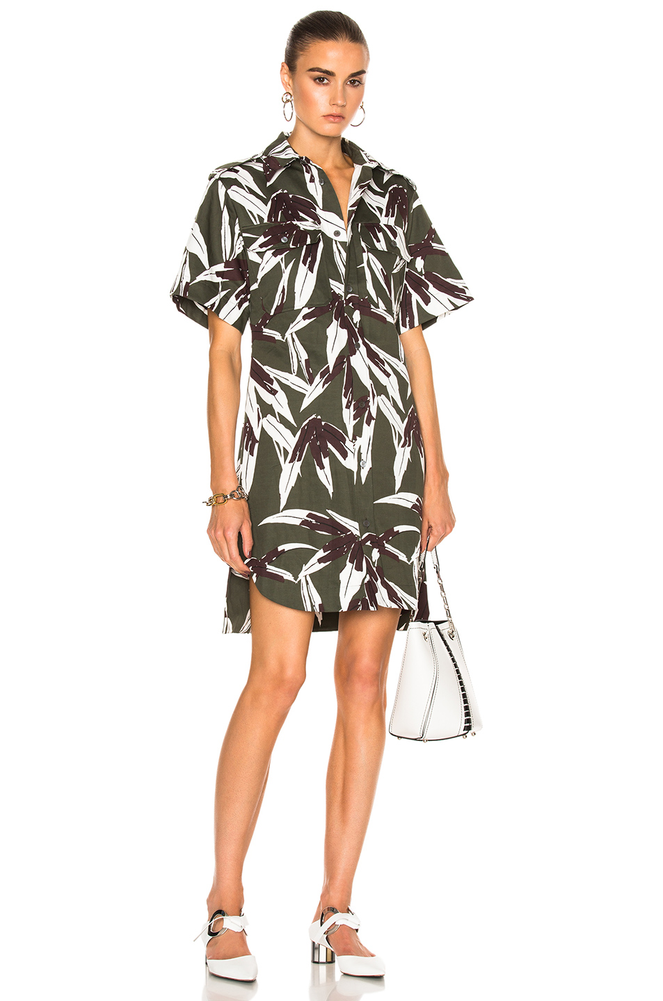 Marni Printed Button Up Dress in Floral,Green