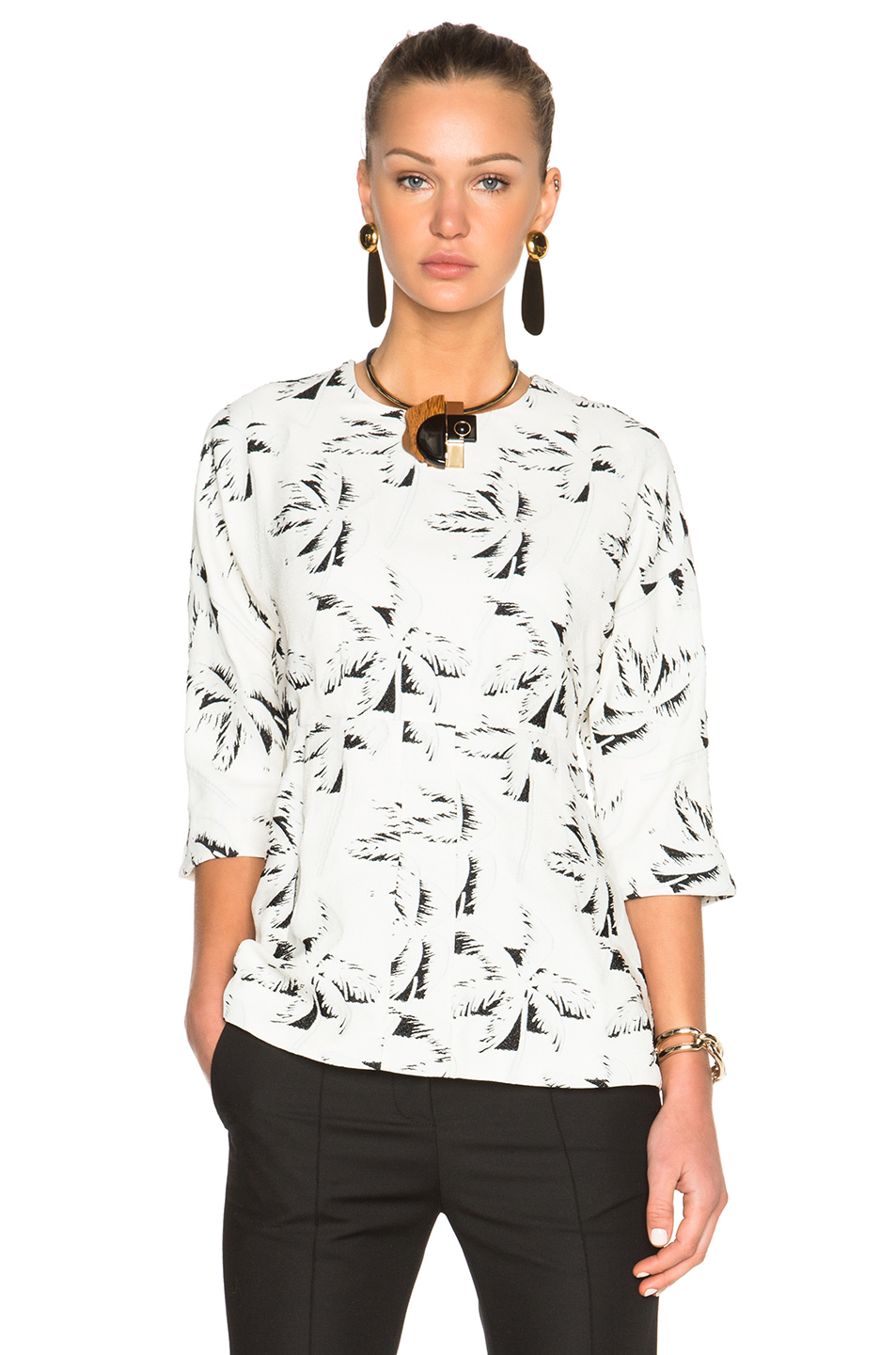 Marni Crepe Jacquard Top in White,Abstract