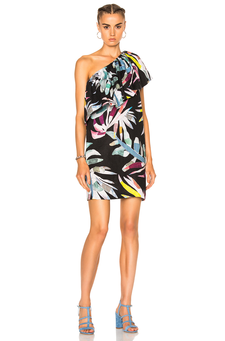 Mara Hoffman One Shoulder Mini Dress in Abstract,Floral